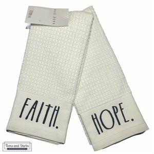 Rae Dunn HOPE & FAITH Kitchen Towel Set of 2